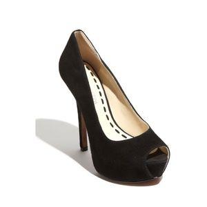 Enzo Angiolini black faux suede peep toe heels